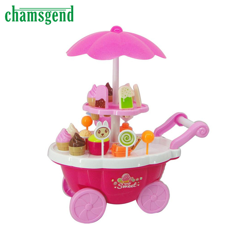 2017 New Kids Toys Simulation Mini Candy Ice Cream Trolley Shop Pretend Play Set 39PC Gift Levert Dropship
