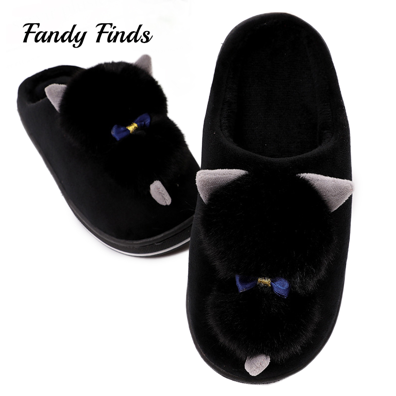 Fandy Finds Faux Rabbit Fur Ladies Winter Home Slippers Cute Cat Bowknot Women Flat Warm Autumn Adult Indoor Shoes Girl Slippers qweek women home animal slippers fur indoor rabbit slippers warm ladies cute funny adult slippers female slide house shoes
