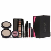 8pcs Set Makeup Sets Cosmetic Tool Browspens Eyeshadow Podwer Lip Eyeliner Mascara Blush Lip Glossy Set
