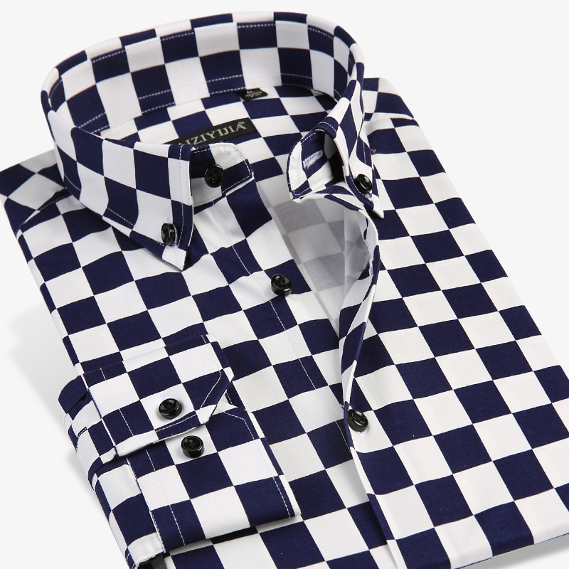 GREVOL New Arrival Men's Fashion Casual Clothes Unique Design Checker Plaid Long Sleeve Shirts Modern Checkerboard Elements