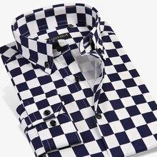 937bc1bb2 Grevol جديد وصول الرجال الموضة عارضة الملابس تصميم فريد مدقق منقوشة طويلة  الأكمام قمصان عناصر اللوحة الحديثة