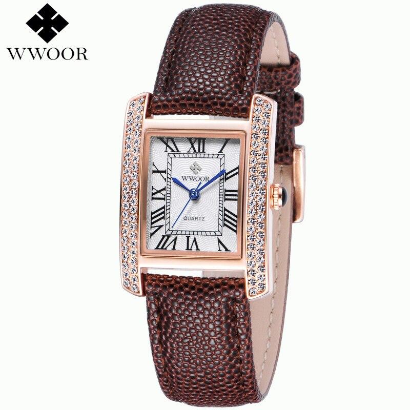 Relogio feminino quartz Montre De Mode Des Femmes Marque de luxe En Cuir  Véritable Or Rose Cadran Carré montres Dames relojes mujer 2016 d43c5e78b11