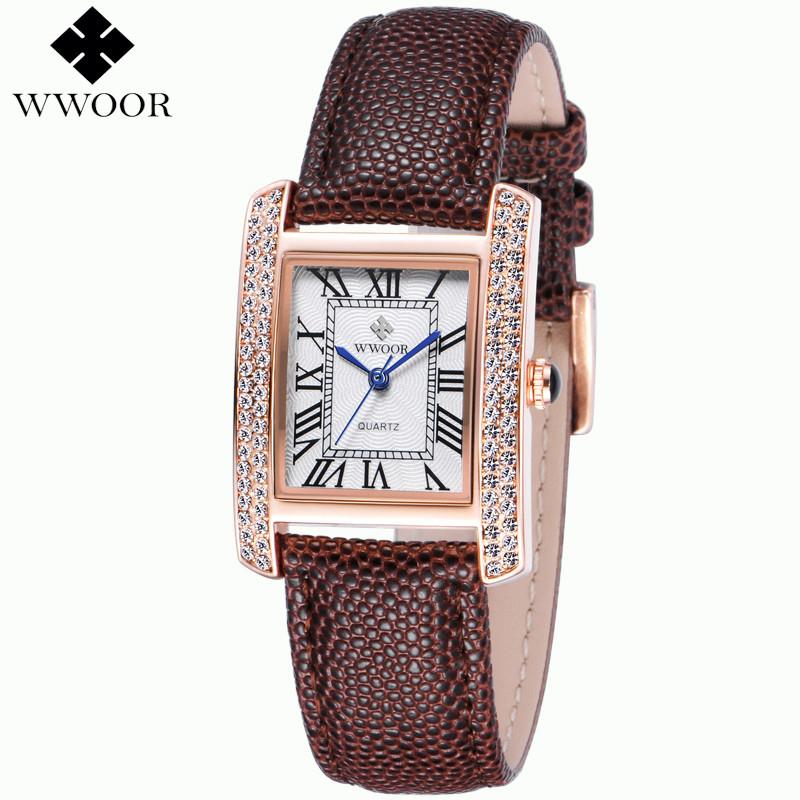 Prix pour Relogio feminino quartz Montre De Mode Des Femmes Marque de luxe En Cuir Véritable Or Rose Cadran Carré montres Dames relojes mujer 2016