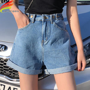 Denim Shorts Jeans High-Waist Women's Streetwear White Summer Ladies for Wide-Leg Blue