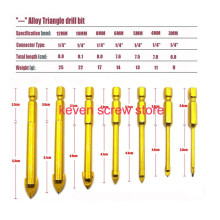 5pcs/7pcs 1/4″ 3/4/6/8/10mm Titanium Coated Glass Drill Bit Set Power Tool Accessories Hex Shank Glass Hole Opener Drilling Bit