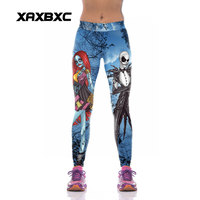 XAXBXC 1001 Fashion The Nightmare Before Christmas Skull Prints High Waist Silm Fitness Women Leggings Sexy Girl Pencil Pants