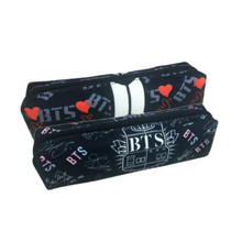 Newtall New KPOP BTS Pencil Case School For Boys Bangtan Boys Love Yourself Pen Canvas Makeup Bag For Girls Storage Suga Jin Cut(China)