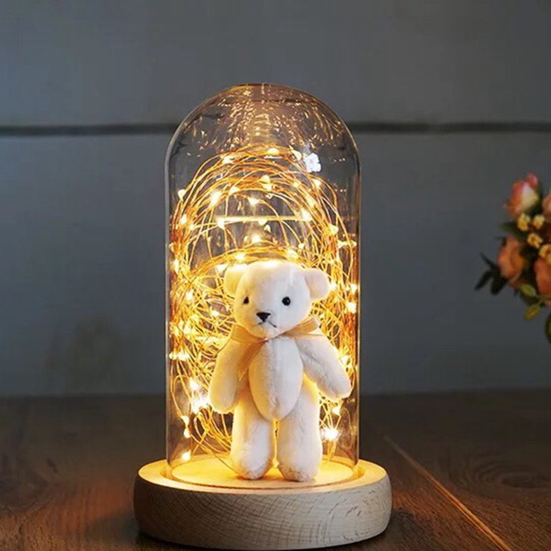 Glass Display Cloche Domes LED Night Lights Table Lamp for Christmas Wedding Decoration, Gift Copper Wire LED String Lights