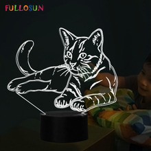 hot deal buy 7 color lamp cat model 3d touch table lamp animal led night lights christmas gift as kids toy lights