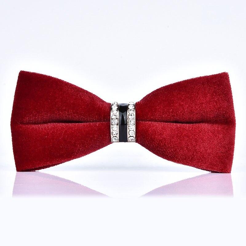 High Quality Men's Bow Tie Velvet Crystal Groom Marriage Wedding Bowties Butterfly Shirt Collar Tie Red Black Necktie For Men