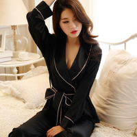 Autumn Winter Women Sexy Pajama Sets Belt Long Sleeve Faux Silk Nightgown Female Comfortable Home Clothing Sleepwear Hi Q SY0044