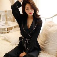 Autumn Winter Women Sexy Pajama Sets Belt Long Sleeve Faux Silk Nightgown Female Comfortable Home Clothing Sleepwear Hi Q SY0044