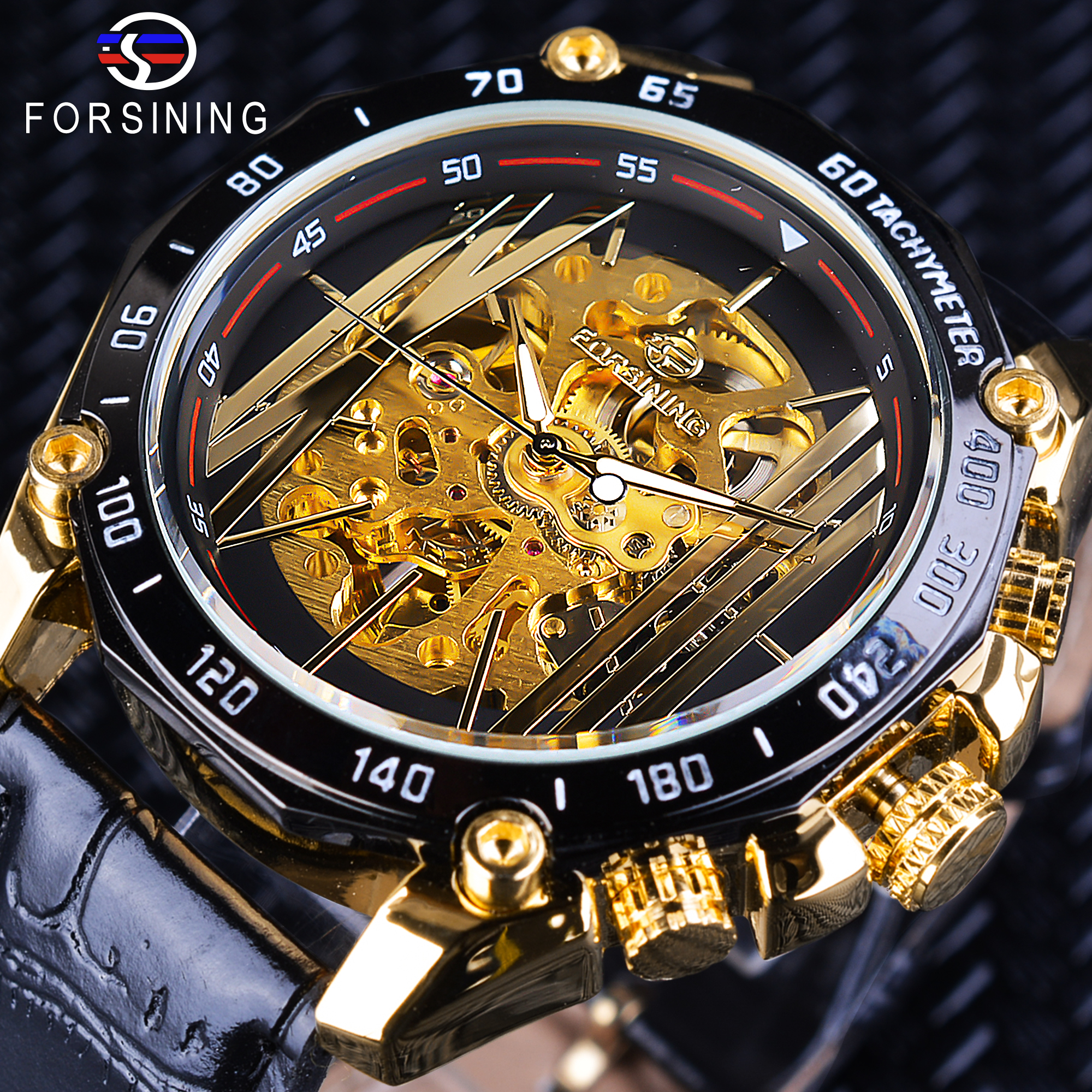 Forsining Big Dial Steampunk Design Luxury Golden Gear Movement Men Creative Openwork Watches Automatic Mechanical Wrist Watches