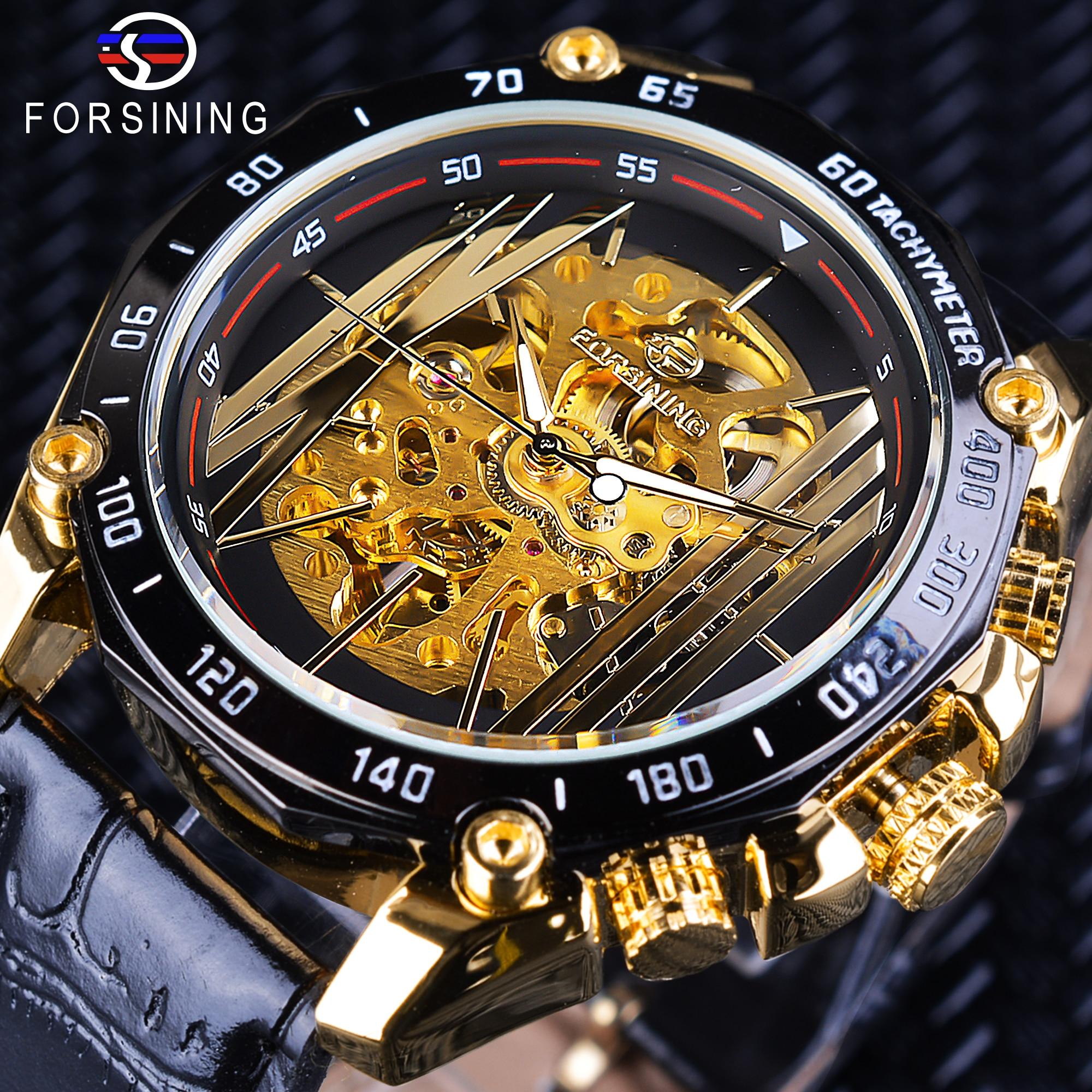Forsining Grote Wijzerplaat Steampunk Ontwerp Luxe Golden Gear Beweging Mannen Creatieve Opengewerkte Horloges Automatische Mechanische Horloges