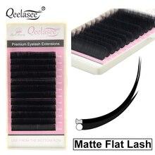 Qeelasee 10 cases/lot matte flat lashes split tips individual mink ellipse shaped natural light soft false ellipse eyelashes