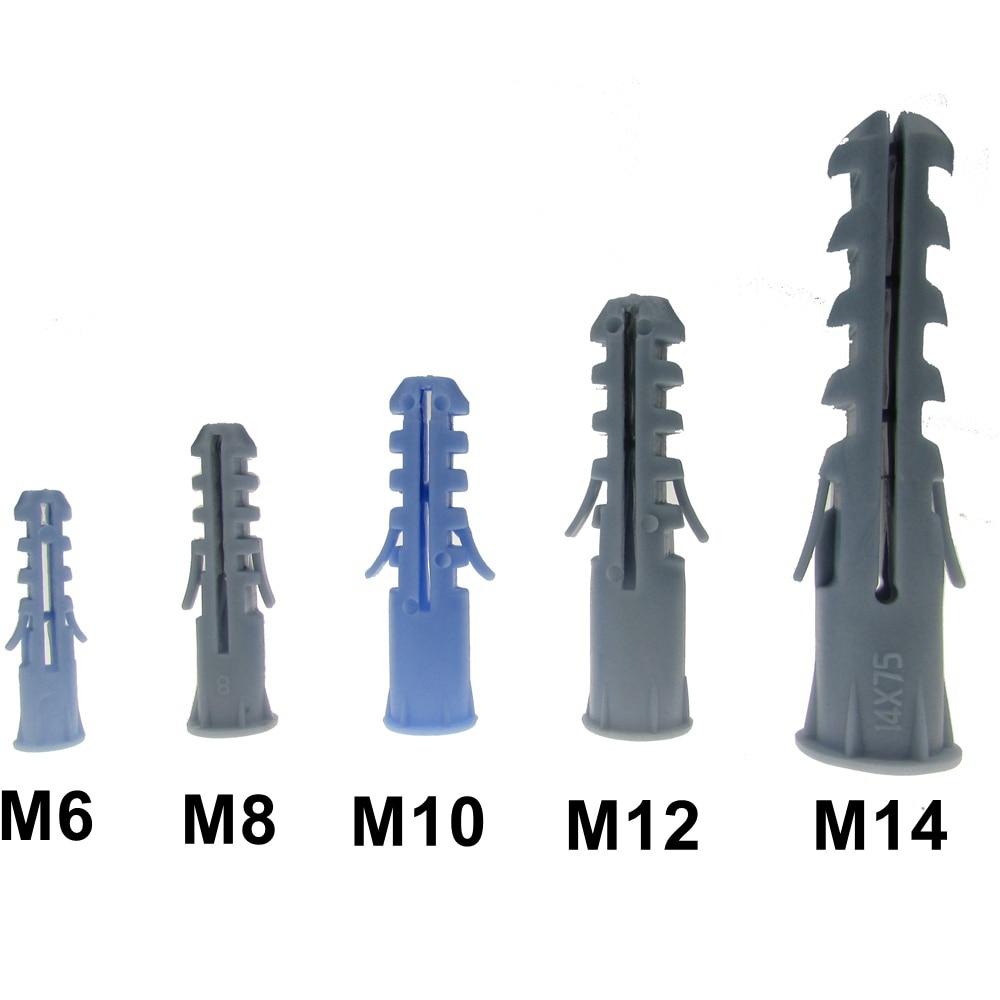 HANDYCRF 50pcs M6 M8 M10 Ribbed Plastic Wall Plastic Expansion Pipe Tube Wall Plugs for M3 M4 M5 M6 M8 Self-Tapping Screws Length: Yellow M6X80mm