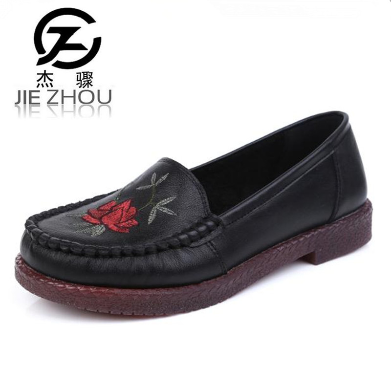 Plus Size 42 43 Women Shoes spring fashion Genuine Leather Round head Flats Shoe Black embroidery soft bottom casual shoes obuv aiyuqi 2018 spring new genuine leather women shoes plus size 41 42 43 comfortable round head fashion handmade ladies shoes