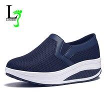 حذاء نسائي موضة 2020 حذاء نسائي صيفي بدون كعب يسمح بالتهوية حذاء نسائي متأرج غير رسمي مقاس 35 42