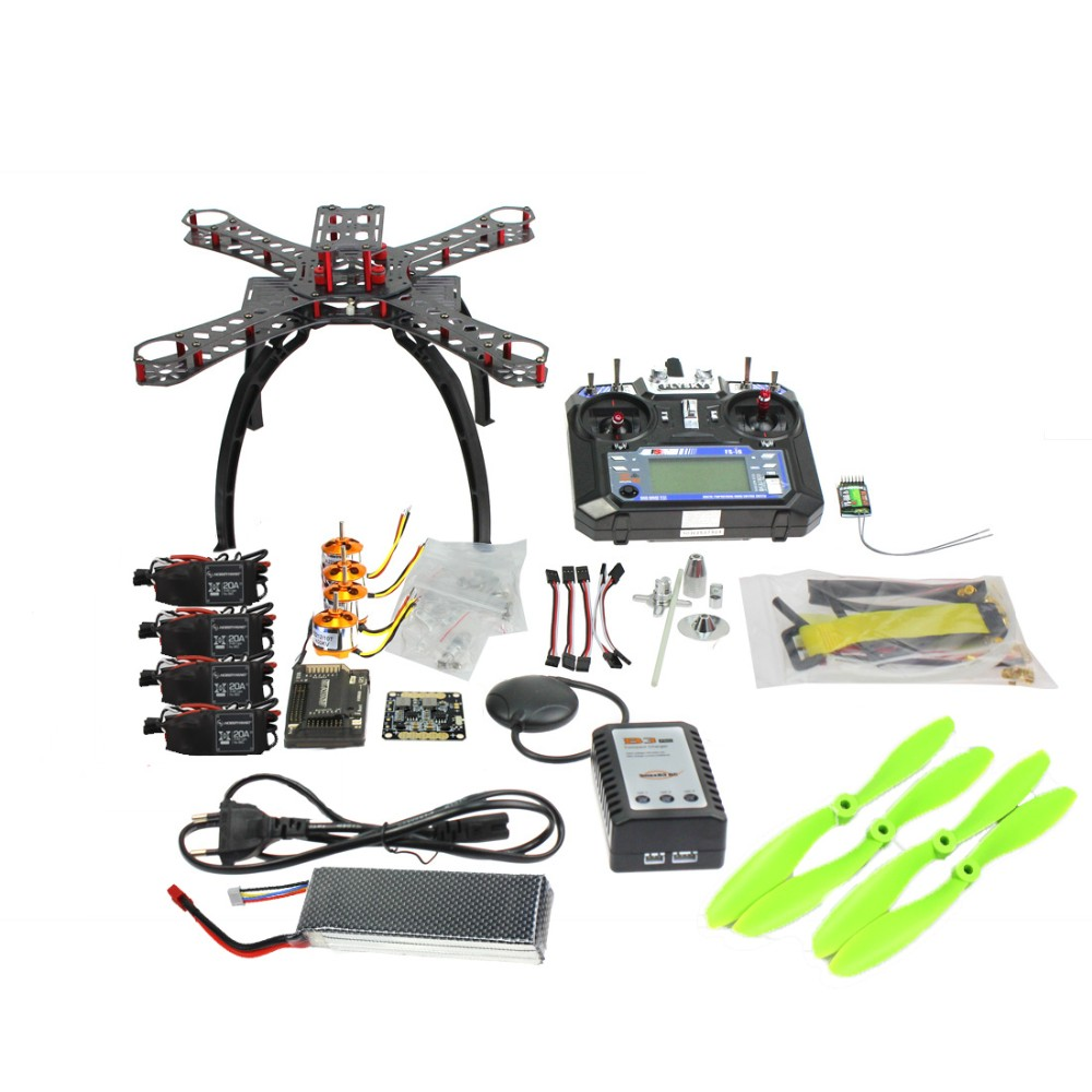Full Kit DIY GPS Drone RC Carbon Fiber Frame Multicopter FPV APM2.8 1400KV Motor 20A ESC flysky 2.4GFS-i6 Transmitter F14891-B diy rc multicopter fpv apm2 8 gps drone x4m310l fiberglass frame kit 1400kv motor xt xinte 30a esc propeller f14891 a