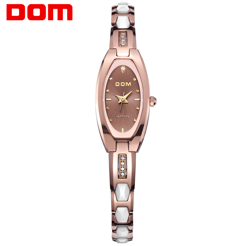 DOM Watch women fashion luxury Brand Top gold Tungsten steel Watch quartz women wristwatches dive 30m watches relogio feminino dom brand luxury women watches waterproof tungsten steel bracelet fashion quartz silver ladies watch relogio feminino