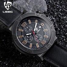 LIEBIG Men Military Quartz Wristwatches Calendar Leather Waterproof Fashion Sports Watches Commander Relogio Masculino ZHG161013