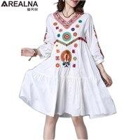 AREALNA 2017 Vintage Ethnic Embroidey Floral Autumn Dress Women White V Neck Bohemian Boho Mini Dress