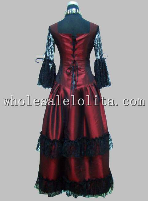 Готический черный и красный тайский шелк и кружева принцесса длинное платье