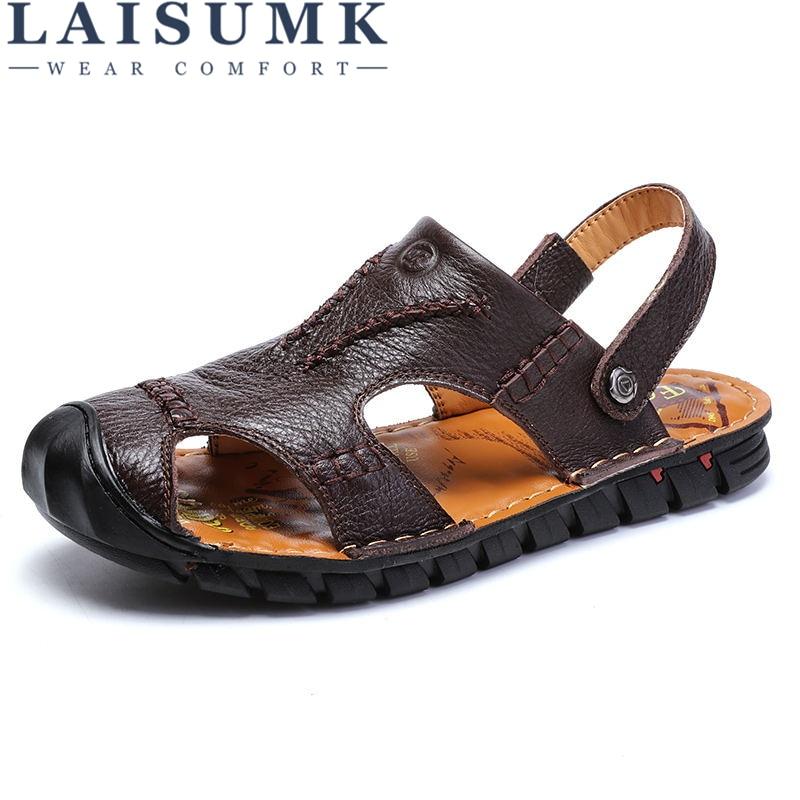 LAISUMK Hot Sale New Fashion Summer Leisure Beach Men Shoes High Quality Leather Sandals Mens