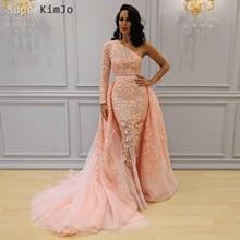 SuperKimJo Pink Evening Dresses 2019 Detachable Skirt Lace Applique Luxury Gown Vestido De Festa Formal