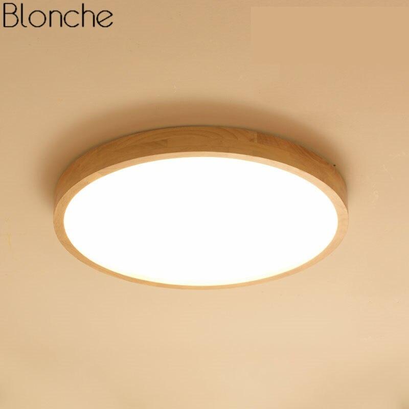 Japanischen Ultra-dünne 6 cm Holz Decke Lampe Moderne Runde Led-deckenleuchten für Wohnzimmer Schlafzimmer Innen Beleuchtung leuchten Decor