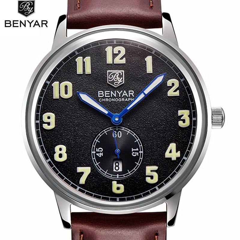 2017 Benyar Brand Men's Fashion Casual Sport Watches Men Waterproof Leather Quartz Watch Man military Clock Relogio Masculino 2017 new top fashion time limited relogio masculino mans watches sale sport watch blacl waterproof case quartz man wristwatches
