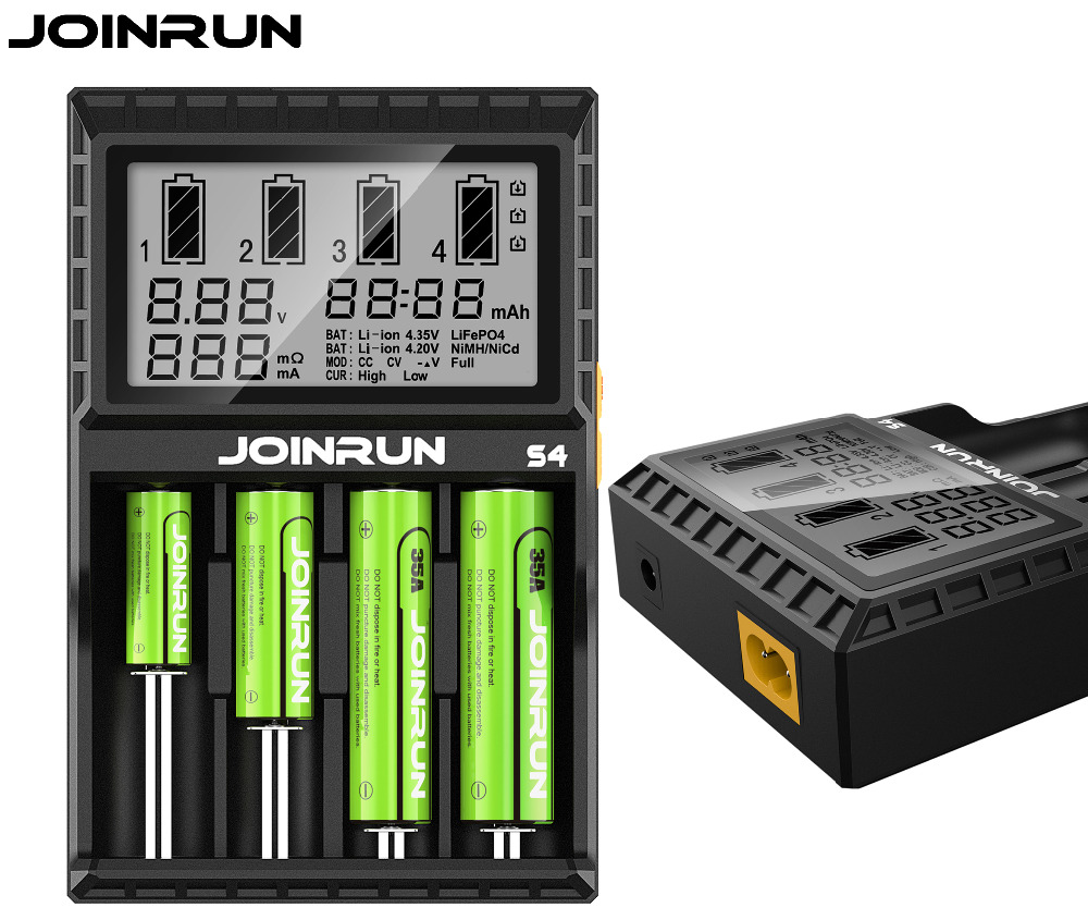 JOINRUN S4 Smart 18650 Battery Charger Li-ion Ni-MH Ni-Cd AAAA AAA AA 14500 16340 14650 26650 16500 16650 14350 Battery Charger joinrun s4 18650 charger lcd smart li ion charging for 18650 14500 16340 26650 with dc 12v car charger for a aa aaa batteries