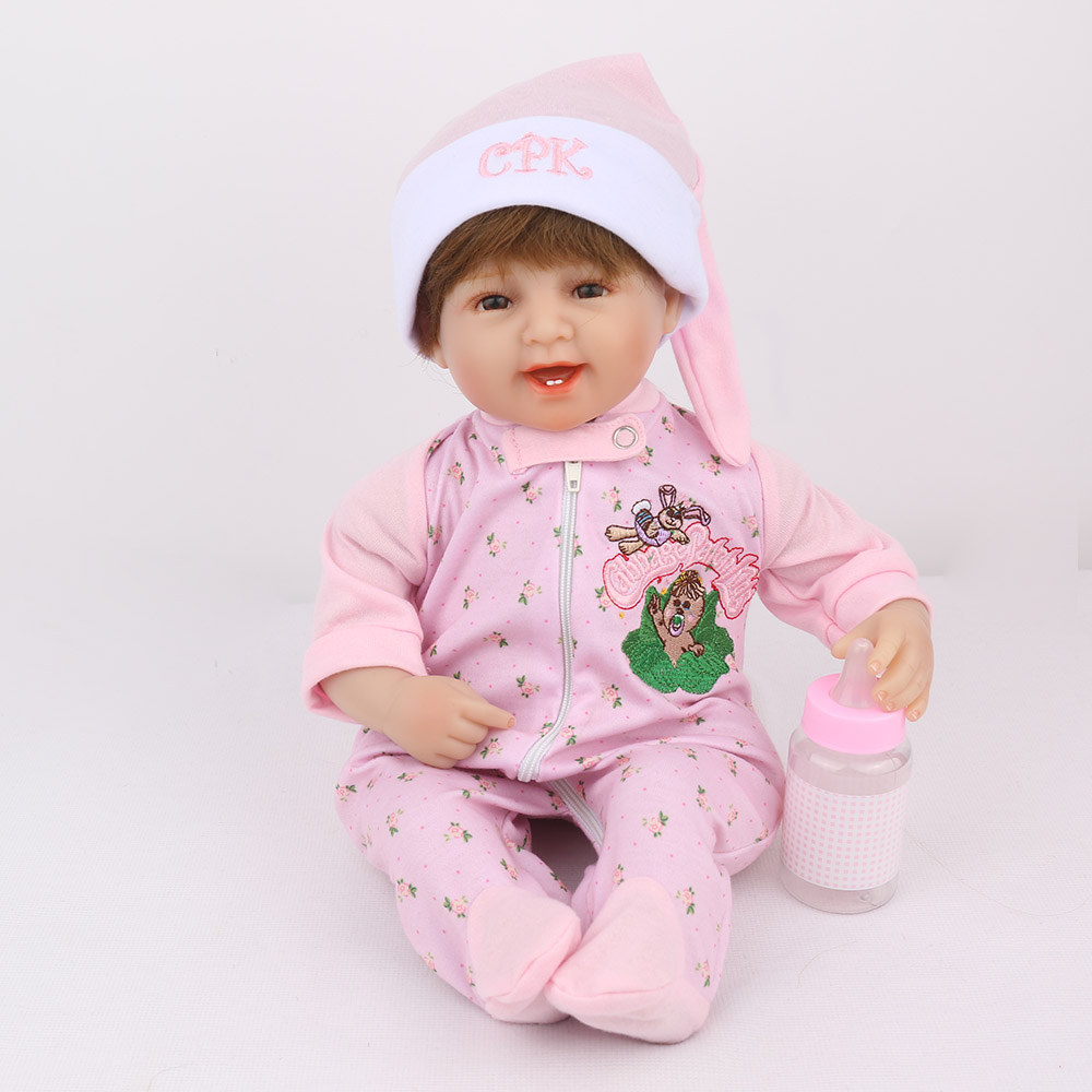 1.NPK DOLL Reborn Baby Doll Pink Girl Smile Babe Boneca Soft Body Little Hat Cartoon Christmas Gift Newborn Dolls Silicone 45cm [mmmaww] christmas costume clothes for 18 45cm american girl doll santa sets with hat for alexander doll baby girl gift toy