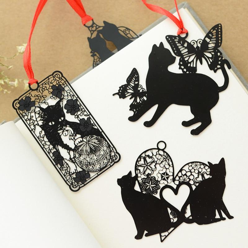 Lovely Cute Kawaii Metal Bookmark Black Cat Book Holder for Book Paper Creative Gift Korean Statione