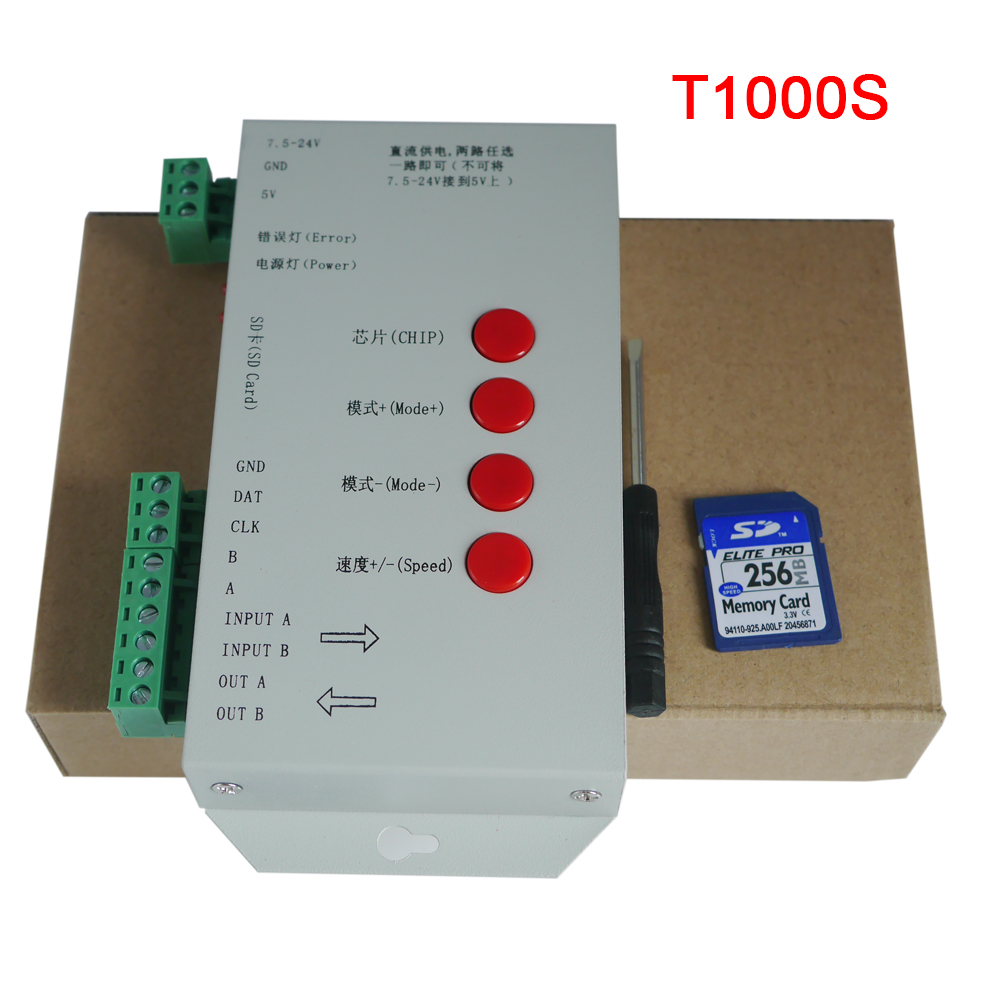 все цены на New DC5~24V T-1000S SD Card Controller for LPD6803 WS2811 WS2801 8806 led pixel controller full color RGB play video SPI онлайн