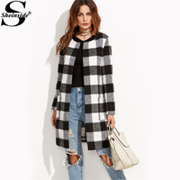 Sheinside Plaid Open Front Collarless Coats 2017 Fashion Long Sleeve Casual Winter Outer For Ladies Women Work Coat