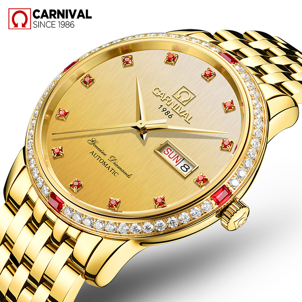 Carnival Watch Men Red Diamond Dial Automatic Mechanical Luminous Stainless Steel Waterproof Week Date Gold Watches цена и фото