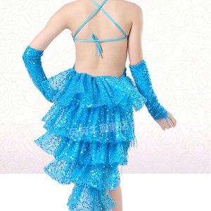Image 3 - Платье для латиноамериканских танцев, костюмы для девочек, детская одежда, бальные платья для конкурсов, Модный Купальник с блестками и кисточками для сальсы