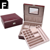 Alligator Grain Travel Jewelry Box Makeup Storage Organizer Box With Inside Mirror PU Leather Jewelry Box