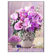DIY Diamond Painting flower vase Diamond Embroidery flower brunch Diamond Mosaic purple flower Cross Stitch Home Decor
