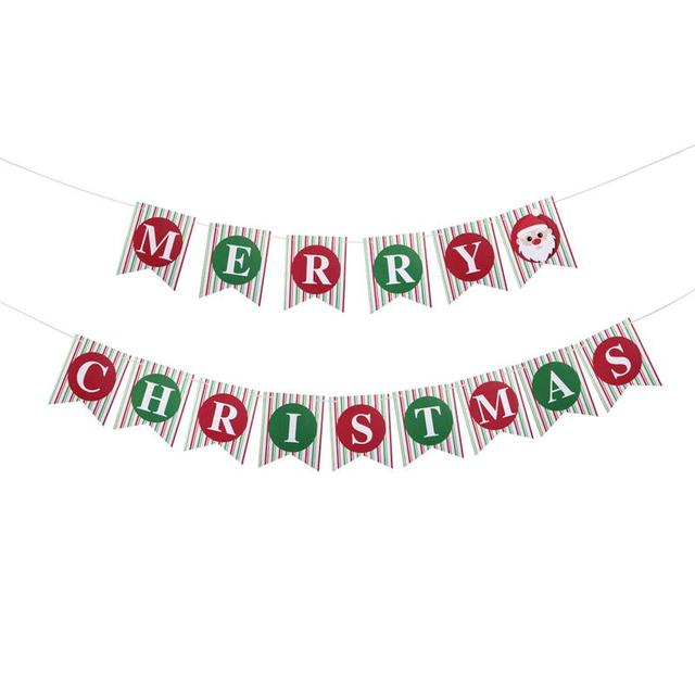 15pcs merry christmas banner sign bunting vintage garland party decoration party photo prop booth with string