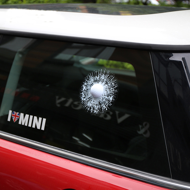 Funny car stickers and decals pvc ball hits car window golf sticker design for vw golf