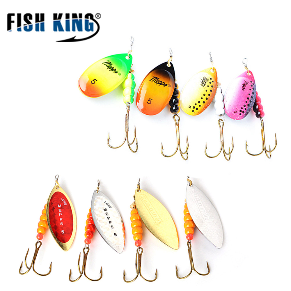 цены FISHKING MEPPS 1#-5# 4pcs/lot long Spinner bait Spoon Lures With Mustad Treble Hooks Peche Jig Anzuelos isca Pesca