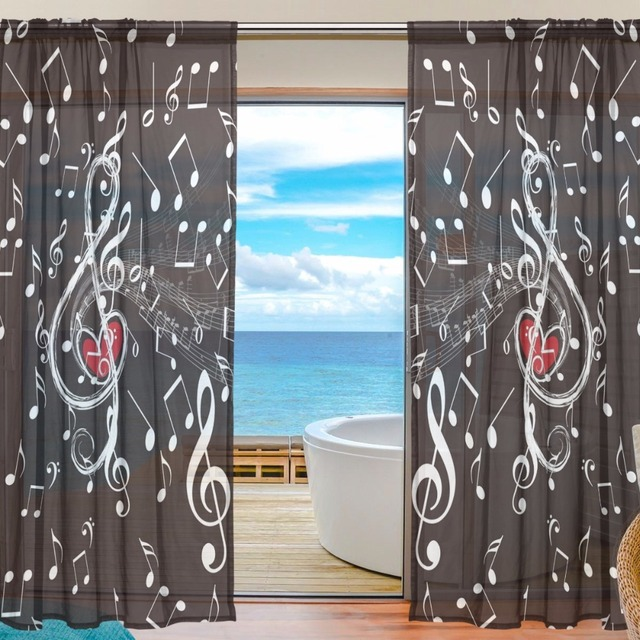 Music Curtain black Curtains Bedroom Sheer Curtains for Living Room Tulle  Curtains/Panels Window Screening