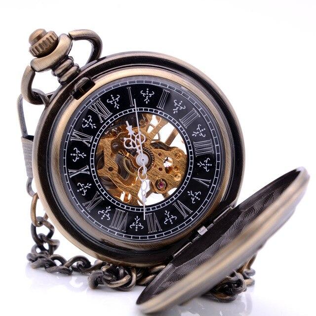 47f9e87d8e3 Engrenagens Steampunk Retro Das Mulheres Dos Homens Vento Mão de Esqueleto  Mecânico Relógio de Bolso de