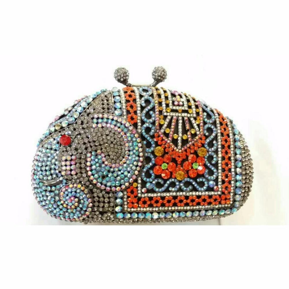 ФОТО ELEPHANT Multi-color-E Crystal Animal Wedding Bridal hollow Metal Evening purse clutch bag box handbag case