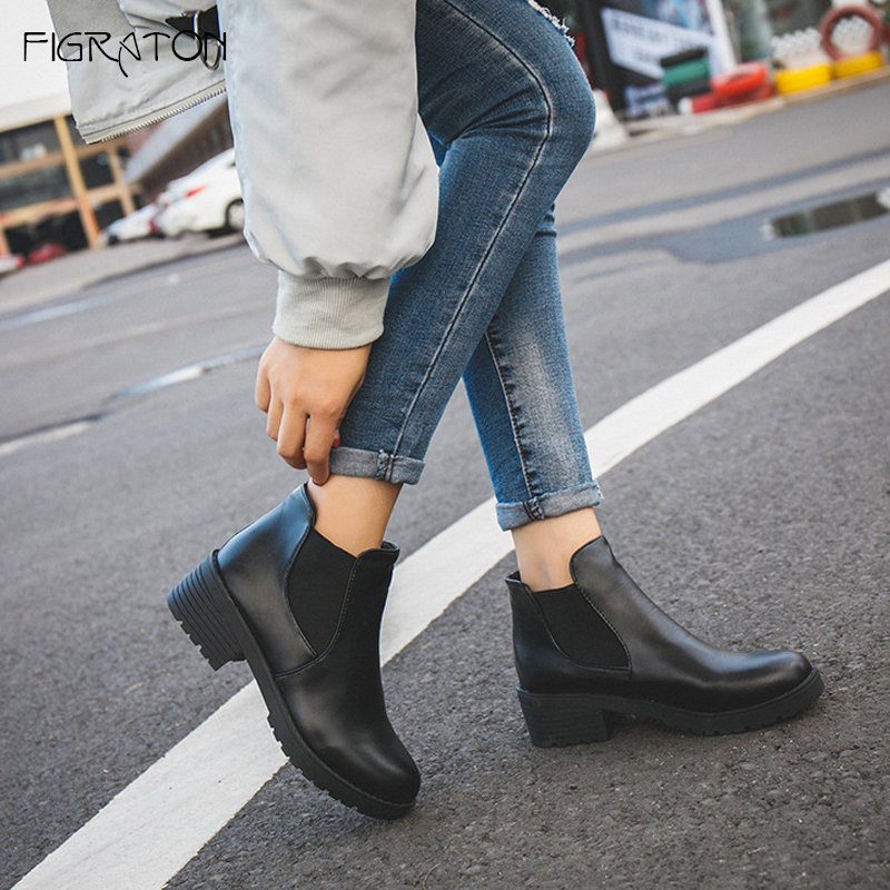 Figraton Women Shoes Ankle Chelsea Boots Spring Autumn Leather PU Slip On Solid Color Round Toe Platform Square Med Heels enmayla new women slip on chelsea boots suede black crystal ladies ankle boots for women round toe med heels shoes woman