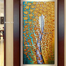 Artwork on canvas new Hand Painted Palette Knife Golden Flower Oil Painting floral art Modern Canvas Wall Art home Decor Picture