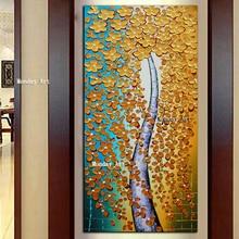 Картины на холсте новый Ручная Роспись Мастихином Золотой Цветок Масляной Живописи флористическое  Лучший!