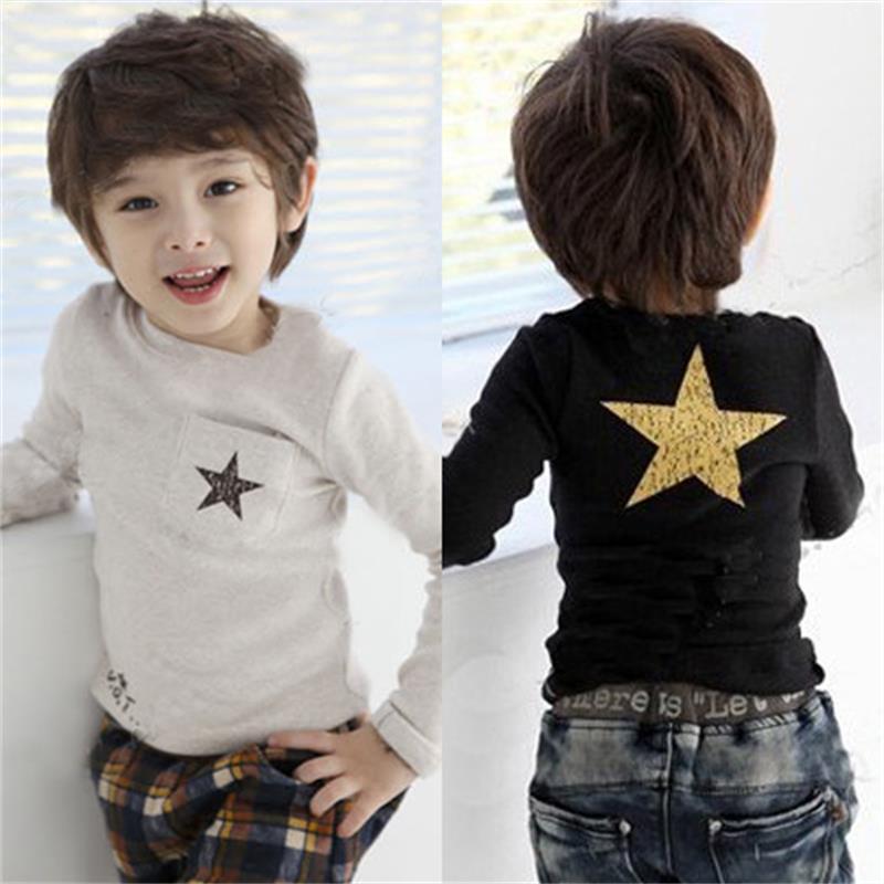 Hooyi Long Sleeve Star Baby Boys T-Shirts Bottoming Shirts Grey Black Children Tees Shirts Sweatshirts Kids Clothes Fashion Tops